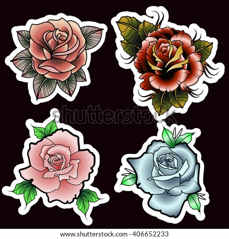 Traditional Tattoo Style Roses Set Image Vectorielle De Stock Libre