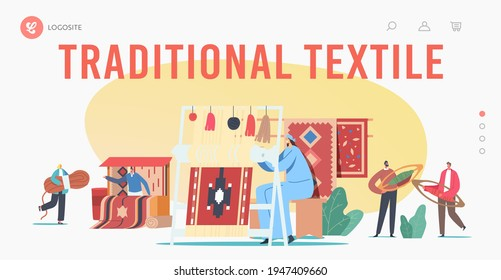 Traditional Textile Landing Page Template. Characters Weaving Carpet on Handloom and Selling on Asian Bazaar. Oriental Art, Handmade Craft, People Making Rugs. Cartoon People Vector Illustration