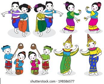 Traditional Thai Dancers character illustration set