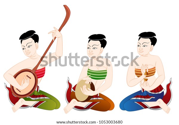 Traditional Thai Painting Music Band Graphic Stock Vector