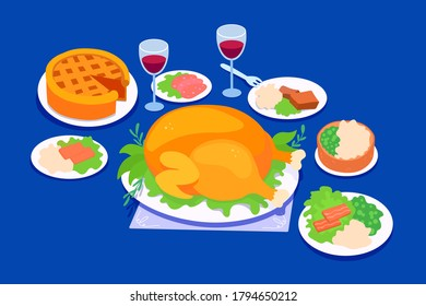 Traditional thanksgiving holidays dinner food. Celebration meals on a Thanksgiving day. Festive banquet dishes. Vector cartoon illustrations set.