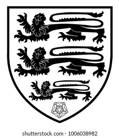 The traditional three lions British shield with the red and white rose - black and white.