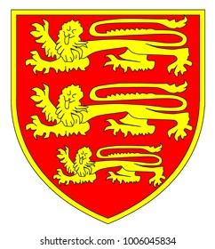 The traditional three lions British shield over a white background.