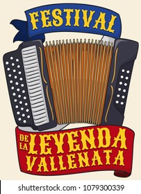 Traditional three-line accordion with commemorative ribbons promoting Vallenato Legend Festival (written in Spanish) in Colombia.