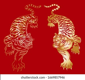 Traditional tiger vector illustration for sticker or tattoo design on background.Chinese tiger cartoon style.Hand drawn Japanese tiger for printing on t-shirt on red background.