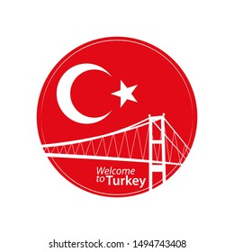 Traditional Turkey symbols, white crescent moon, star and Istanbul Bosphorus Bridge silhouette on red background. Round badge icon. Vector Illustration.