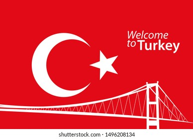 Traditional Turkey symbols, white crescent moon, star and Istanbul Bosphorus Bridge silhouette on red background. Icon, banner, poster template. Vector Illustration.