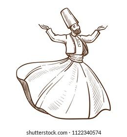 Traditional Turkish dervish dances monochrome sketch vector illustration