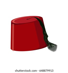 Traditional turkish hat fez or tarboosh isolated on white background. Flat icon. Cartoon vector illustration.
