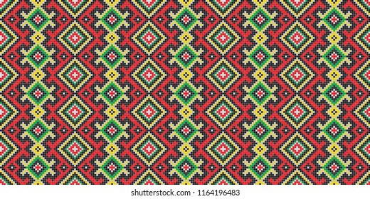 Traditional Ukrainian folk art knitted embroidery pattern.