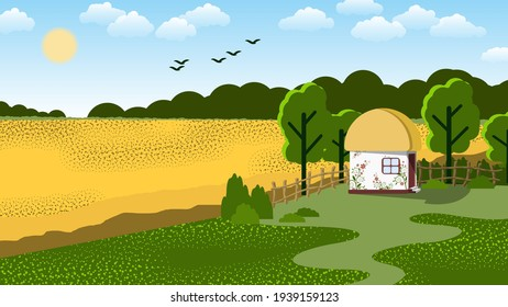 traditional Ukrainian house with art painting near the road, wheat field on the background of the forest, sky with the sun, clouds, silhouettes of flying birds. vector