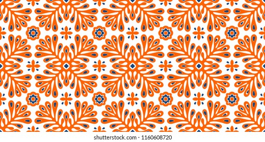 Traditional vector ornament in Scandinavian style. Stylized flowers and plants.  Moroccan tile mosaic. Turkish folk print. Spanish pottery. Ethnic background. Mediterranean seamless  wallpaper.