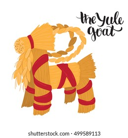 Traditional vector Yule and Xmas straw goat - symbol of good luck and fertility, traditional scandinavian Christmas decor