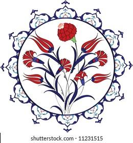 Traditional vintage ottoman turkey turkish tulip plate tile design