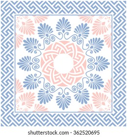 Traditional vintage pink, white and blue round floral Greek ornament, Meander