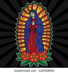 traditional the virgin mary tattoo, vector EPS 10