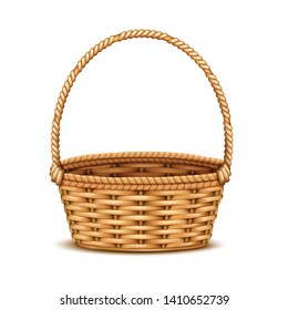 Traditional willow wicker basket with handle empty closeup realistic isolated image against white background vector illustration
