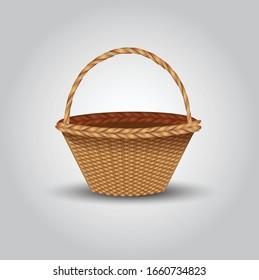 Traditional willow wicker basket with handle empty close up realistic isolated image against white background vector illustration