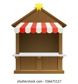 traditional winter Christmas fair market wooden booth gift shop isolated on white background. vector illustration