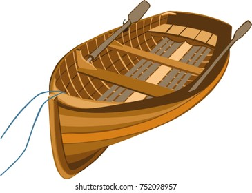 Traditional wooden dinghy illustration