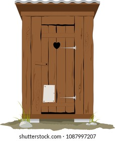 Traditional wooden outhouse, EPS 8 vector illustration, no transparencies