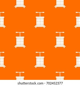 Traditional wooden press for grapes pattern repeat seamless in orange color for any design. Vector geometric illustration
