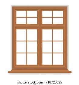 Traditional Wooden Window Isolated. Closed Realistic Vector Window    Element Of Architecture And Interior Design