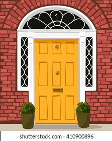 Traditional yellow-painted front door with  letterbox and door-knocker.