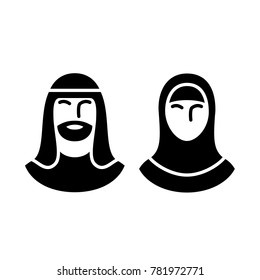 Traditionally clothed arabic men and women icon set, muslim business avatar. Vector illustration for web and commercial use.