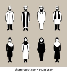 Traditionally clothed muslim man and woman icon set, vector illustration