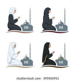 Traditionally clothed muslim man and woman making a supplication (salah) while sitting on a praying rug against the backdrop of the mosque. Silhouette icon set includes 4 versions in different dress.
