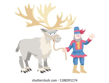 A traditionally-dressed Laplander leading a large-antlered reindeer by a rope