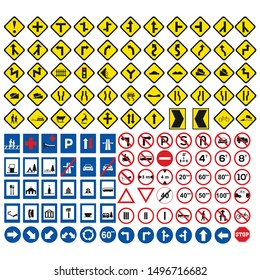 trafffic icon set most used for righ hand drive for for Europe and Asia