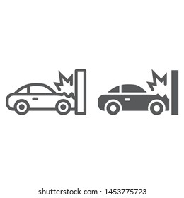 Traffic accident line and glyph icon, disaster and auto, car crash sign, vector graphics, a linear pattern on a white background, eps 10.