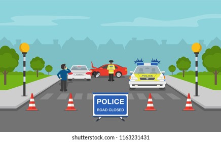 Traffic accident on a city street. Zebra crossing with belisha beacons. Flat vector illustration.