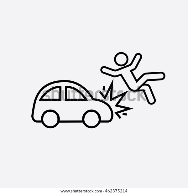 Traffic Accident Outline Icon Car Knocks Stock Vector Royalty Free