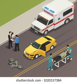 Traffic accident scene of car collision with bicycle isometric composition with drivers involved and ambulance vector illustration