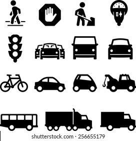 Traffic, cars and trucks icons