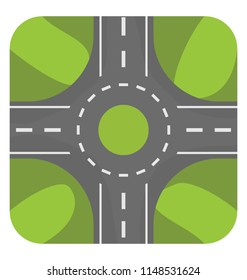 Traffic circle with four roads and landscape on four sides, a graphic for roundabout icon