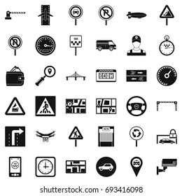Traffic in city icons set. Simple style of 36 traffic in city vector icons for web isolated on white background
