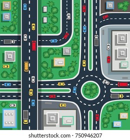 Traffic city roads intersections top view flat poster plan map detail toddler baby floor mat vector illustration