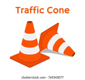 Traffic cone, equipment for safety, road. Orange obstacle. Made in cartoon flat style. Vector illustration