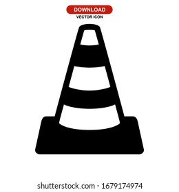 traffic cone icon or logo isolated sign symbol vector illustration - high quality black style vector icons