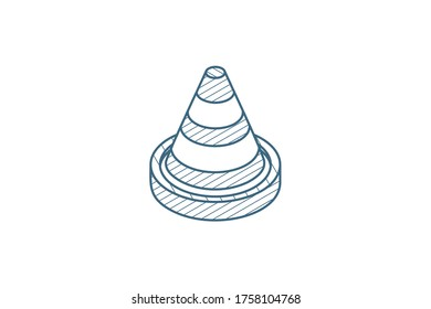 traffic cone isometric icon. 3d vector illustration. Isolated line art technical drawing. Editable stroke