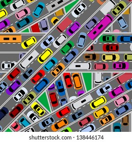 Traffic congestion on roads for modern city problems concept. Jpeg (bitmap) version also available in gallery