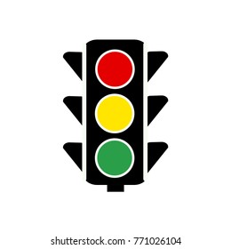 Traffic control light / signal with red, yellow and green color flat icon,vector