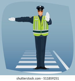 Traffic cop, officer of traffic police, in form of policeman, with high visibility clothing, standing at crossroads and made sign with his hands. Cartoon style. Vector illustration