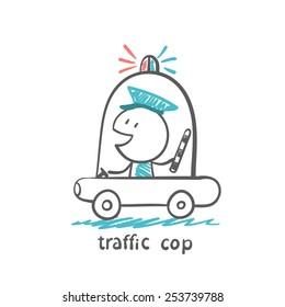 traffic cop in a police car, illustrator
