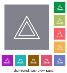 Traffic emergency triangle flat icons on simple color square backgrounds