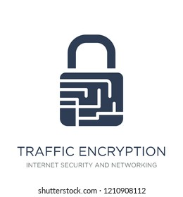 traffic encryption icon. Trendy flat vector traffic encryption icon on white background from Internet Security and Networking collection, vector illustration can be use for web and mobile, eps10